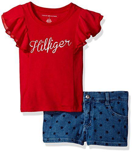 Tommy Hilfiger Little Girls' 2 Piece Short Set, Red, 5