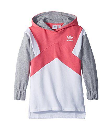 adidas Originals Kids Girl's Modern French Terry Hoodie (Little Kids/Big Kids) Real Pink/White/Medium Grey Heather Large
