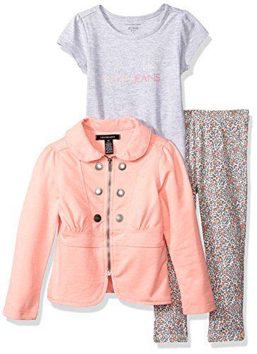 Calvin Klein Little Girls' Toddler 3 Piece Twill Jacket, T-Shirt, and Pant Set, Gray, 3T