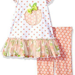 Bonnie Jean Little Girls' Appliqued Dress and Legging Set, Peach, 6X
