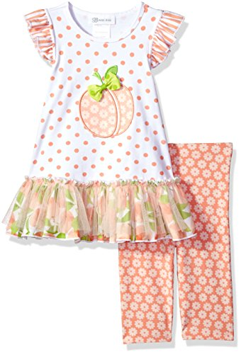 Bonnie Jean Little Girls' Appliqued Dress and Legging Set, Peach, 6X