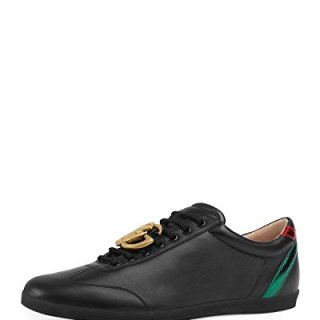 Gucci Men's Bambi GG Leather Low-Top Sneaker, Black (9 US/8.5 UK)