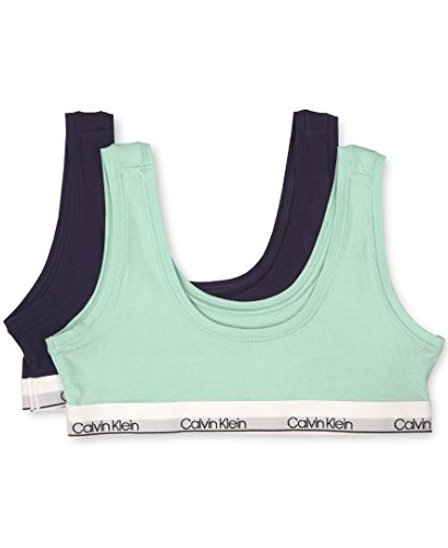 Calvin Klein Big Girls' Modern Cotton 2 Pack Classic Crop Bra, Delta Teal/Symphony, L (10/12)