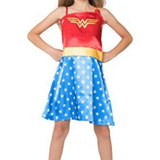DC Comics Little Girls' Wonder Woman Costume Pajama Nightgown, Blue, 4/5
