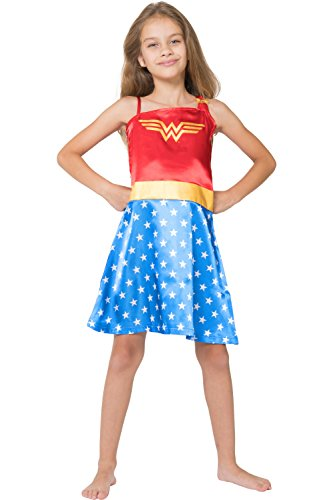 DC Comics Little Girls' Wonder Woman Costume Pajama Nightgown, Blue, 4/5