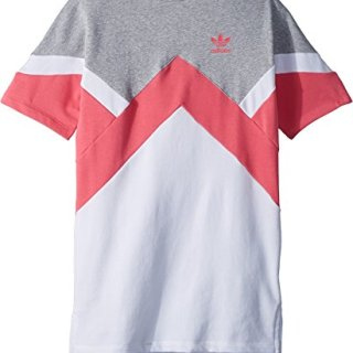 adidas Originals Kids Girl's Modern French Terry Dress (Little Kids/Big Kids) Medium Grey Heather/Real Pink/White Large