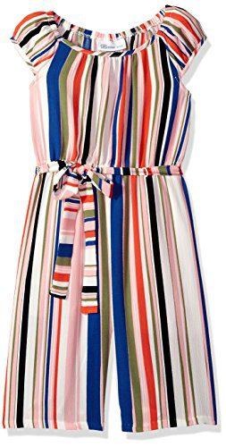 Bonnie Jean Big Girls' Jumpsuit, Multi Stripe, 7