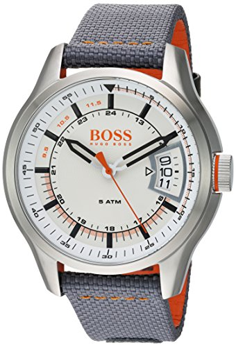 Hugo BOSS Men's 'Hong Kong Sport' Quartz Stainless Steel and Nylon Casual Watch, Color Grey