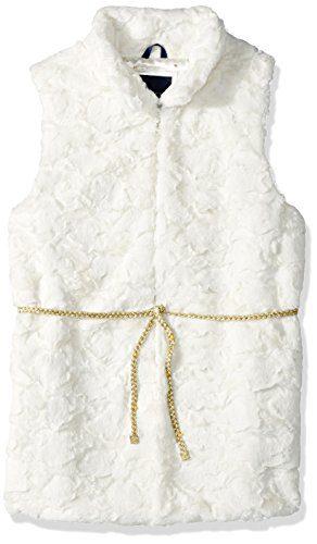Tommy Hilfiger Big Girls' Faux Fur Vest, Whisper White, Medium