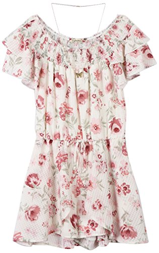 vSpeechless Big Girls' Smocked Neck Romper, Ivory/Blush, Medium