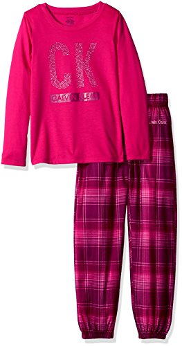 Calvin Klein Big Girls' Ck 2pc Long Sleeve Top/Sleep Pant Set, Pom Fruit, 10/12