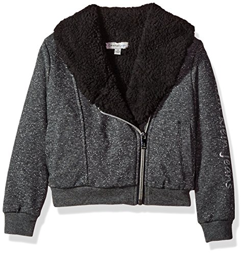 Calvin Klein Toddler Girls' Sparkle Moto Sweatshirt, Dark Charcoal Heather, 3T
