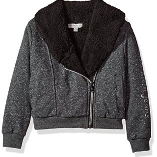 Calvin Klein Toddler Girls' Sparkle Moto Sweatshirt, Dark Charcoal Heather, 3T