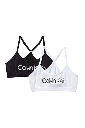 Calvin Klein Big Girls' Seamless Racerback Crop Bra (Pack of 2) (Classic White/Black/White, Large)
