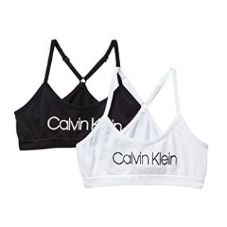 Calvin Klein Big Girls' Seamless Racerback Crop Bra (Pack of 2) (Classic White/Black/White, Large)