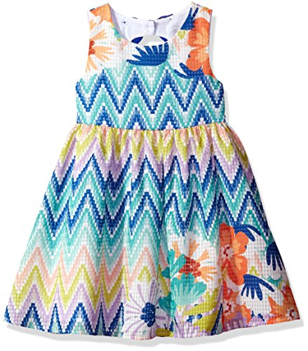 Rare Editions Little Girls' Chevron Floral Print Dress, Lilac/Multi, 5