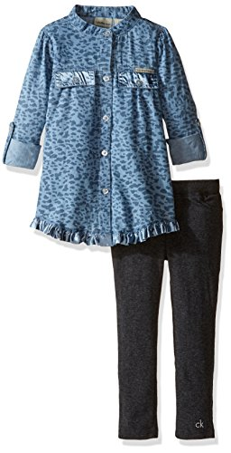 Calvin Klein Little Girls' Toddler Roll up Sleeves Tunic with Leggings Set, Blue, 3T