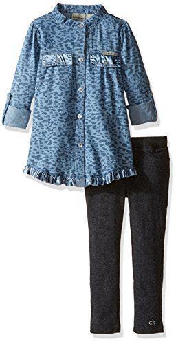 Calvin Klein Little Girls' Toddler Roll up Sleeves Tunic with Leggings Set, Blue, 3T