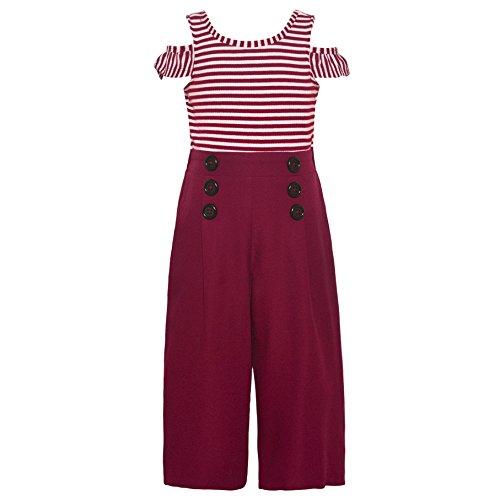 Bonnie Jean Little Girls Burgundy Stripe Cold Shoulder Button Romper 6