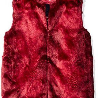 Tommy Hilfiger Big Girls' Faux Fur Vest, Red Berry, X-Large/16
