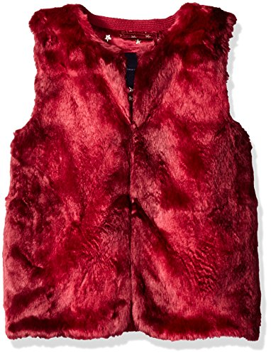 Tommy Hilfiger Big Girls' Faux Fur Vest, Red Berry, X-Large/16