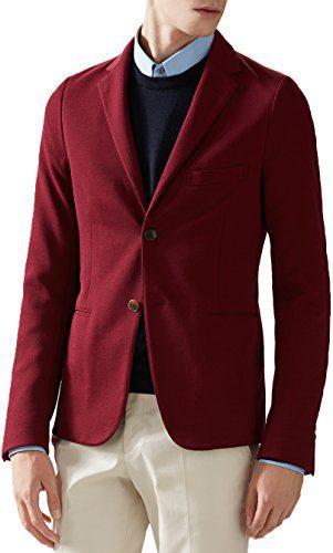 Gucci Men's Red Tricotine Cotton Jersey Soft Blazer Sport Coat Jacket, 40, Red