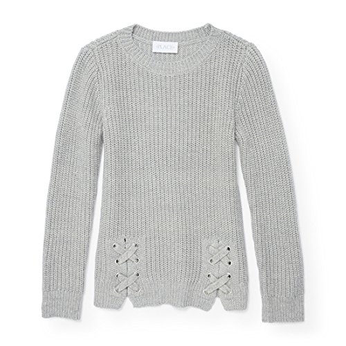 The Children's Place Big Girls' Knit Sweater with Bottom Tie Detail, H/T Falcon, S (5/6)