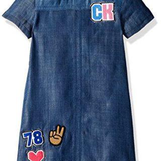 Calvin Klein Big Girls' Denim Dress, Color Block, Medium (8/10)