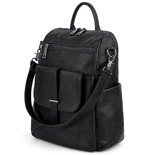 UTO Women Backpack Purse PU Washed Leather Convertible