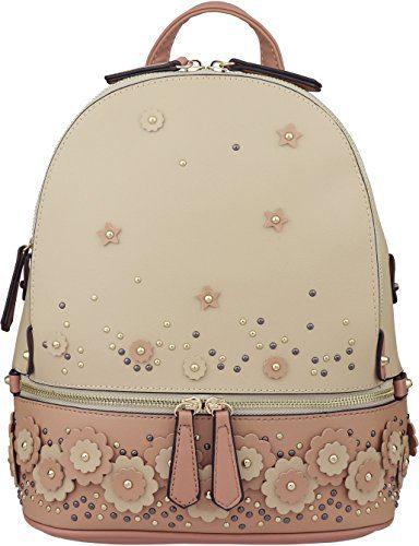 B BRENTANO Vegan Backpack Fashion Floral Patchwork Medium (Tan)
