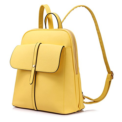 Backpack Purse for Girls School Travel Bag Bucket Shape Large Capacity Yellow