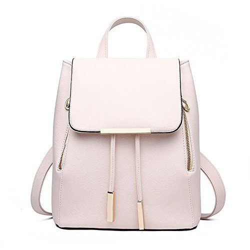 Women Leather Shoulder Bag Travel Camping Backpacks Schoolbags (Beige)