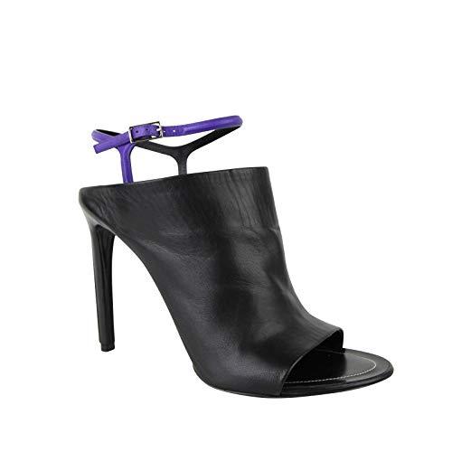 Balenciaga Women's Violet Ankle Straps Black Leather Open Toe Heel 391156 1092 (EU 40 / US 10)