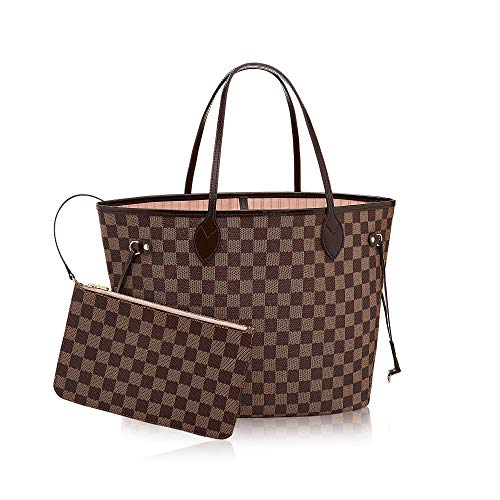 Neverfull Style Canvas Woman Organizer Handbag Damier Tote Shoulder
