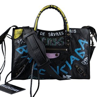 Balenciaga Arena Leather Classic City Graffiti Small Bag