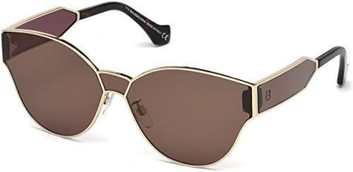 Balenciaga Semi Shiny Pale Gold/Brown Fashion Sunglasses