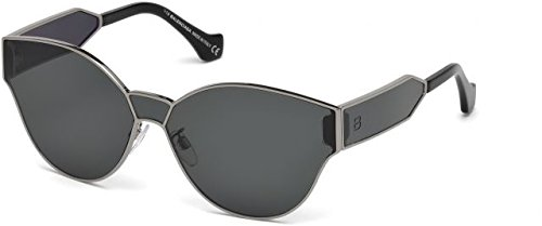 Balenciaga Semi Shiny Dark Ruthenium/Smoke Fashion Sunglasses