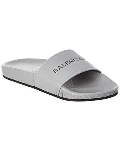 Balenciaga Leather Pool Slide Sandal, 36, Grey