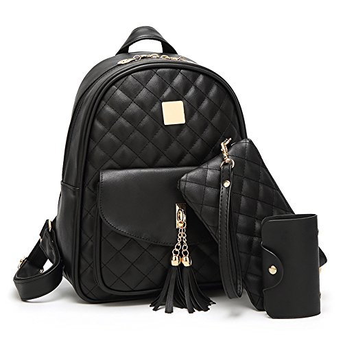 Women's Simple Design Fashion Quilted Casual Backpack Leather Backpack for Women