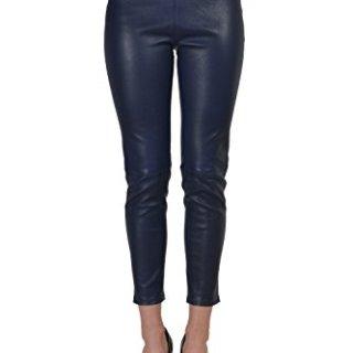 Balenciaga 100% Leather Navy Women's Casual Pants US 2 IT 38