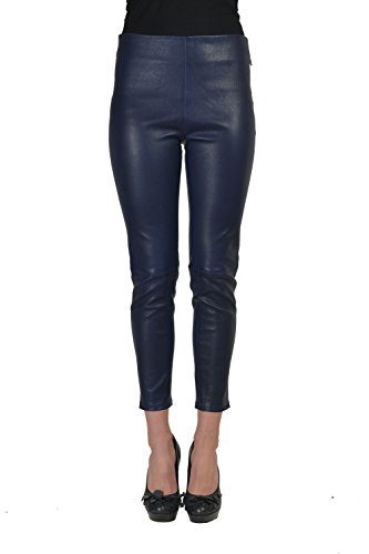 Balenciaga 100% Leather Navy Women's Casual Pants US 2 IT 38