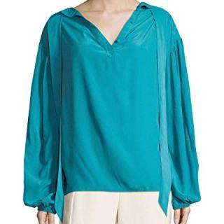 Balenciaga Womens Solid Ruffled Blouse, 40
