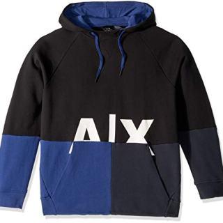A|X Armani Exchange Men's Graphic Split Hoodie, Black/Twilight b/Navy, S