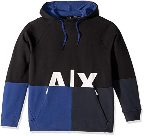 A|X Armani Exchange Men's Graphic Split Hoodie, Black/Twilight b/Navy, S