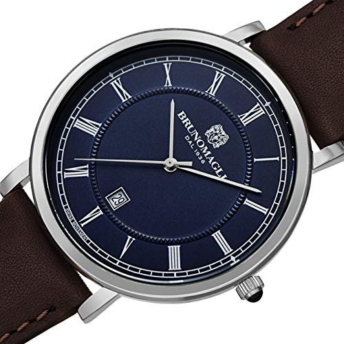 Bruno Magli Men's Milano 1201 Swiss Quartz Blue Dial Italian Leather Strap Watch