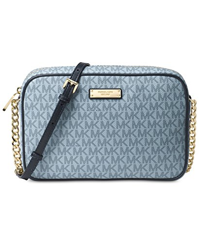 MICHAEL Michael Kors Signature Jet Set Item Large East West Crossbody (Pearl Blue/Admiral)