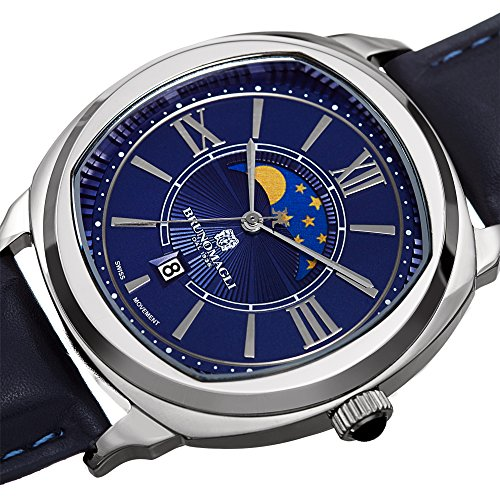 Bruno Magli Men's 1042 Swiss Quartz Watch Italian Leather Strap Watch (Blue/Blue)