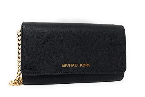 Michael Kors Jet Set Travel Large Leather Wallet Phone Crossbody Bag in Black