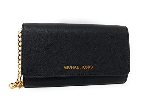 Michael Kors Jet Set Travel Large Leather Wallet Phone Crossbody Bag in Black