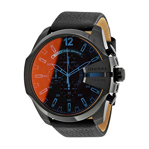 Diesel Men's Mega Chief Quartz Stainless Steel and Leather Chronograph Watch, Color: Black (Model: DZ4323)